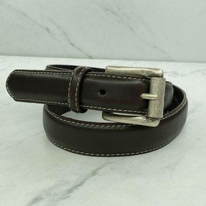 Lands' End Brown Vintage Stitched Leather Belt 26
